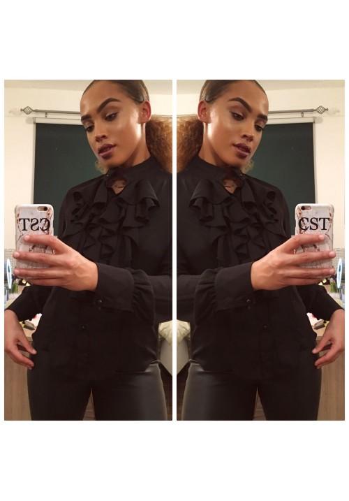 ANNA BLACK RUFFLE SHIRT