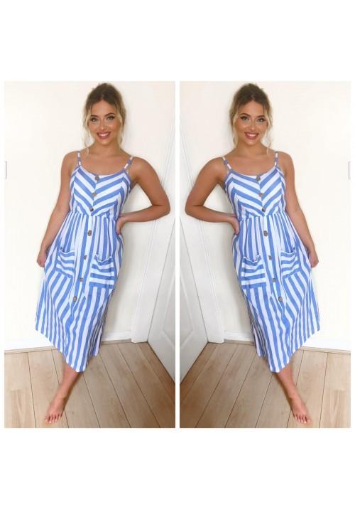 ALICE STRIPED SUMMER DRESS - BLUE STRIPE
