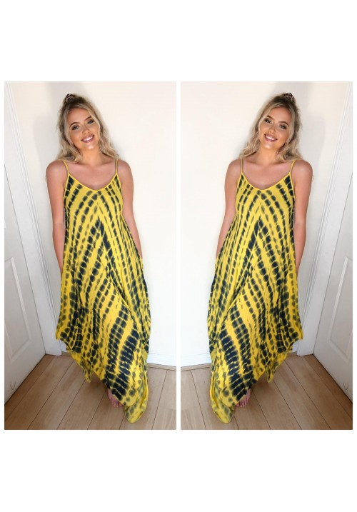 ALL TIE DYED UP DRESS - YELLOW