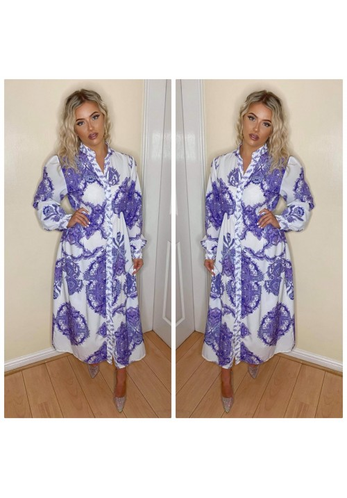 DAY DREAMER PAISLEY MAXI SHIRT- PURPLE