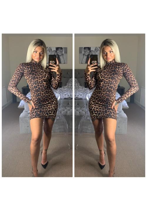 FELINE FINE HIGH NECK BODYCON DRESS - LEOPARD PRINT