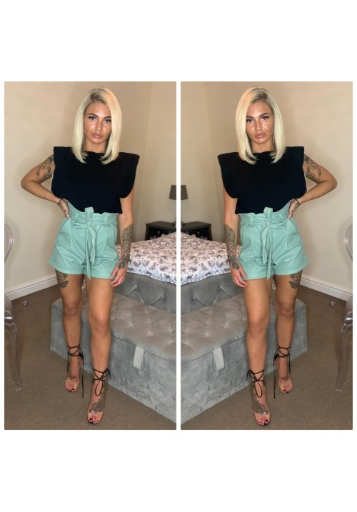 MOLLY LEATHER LOOK SHORTS - SAGE GREEN