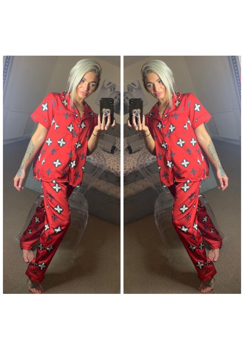 A NIGHT TO REMEMBER LONG PYJAMA SET - LV RED