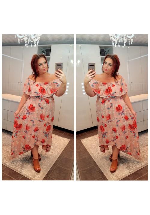 CURVY GIRLS RIVIERA BARDOT MAXI DRESS - PINK FLORAL
