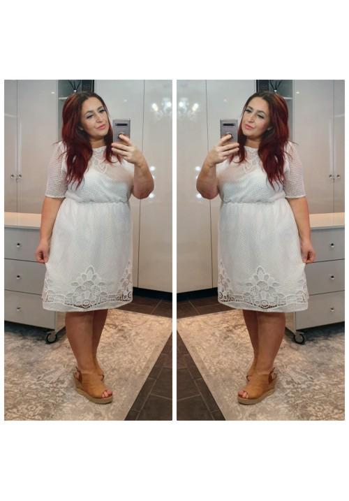 CURVY GIRLS DAYDREAM CROCHET DRESS - WHITE