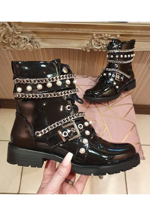CHANELLE EMBELLISHED CHUNKY BOOT - PATENT BLACK