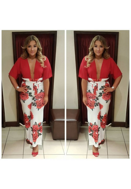 RED FLORAL WIDE LEG PAPERBAG TROUSERS