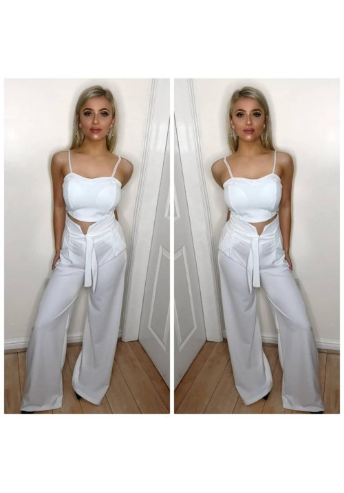 ARI TWO PIECE TROUSER SUIT - WHITE