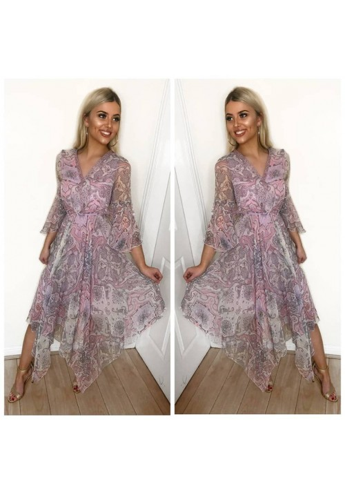 BOHO PAISLEY DRESS - DUSKY LILAC