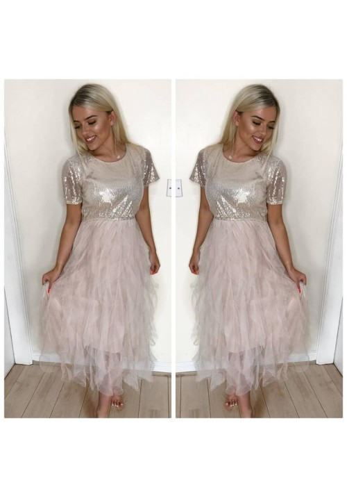 CARMEN SEQUIN TULLE DRESS - GOLD