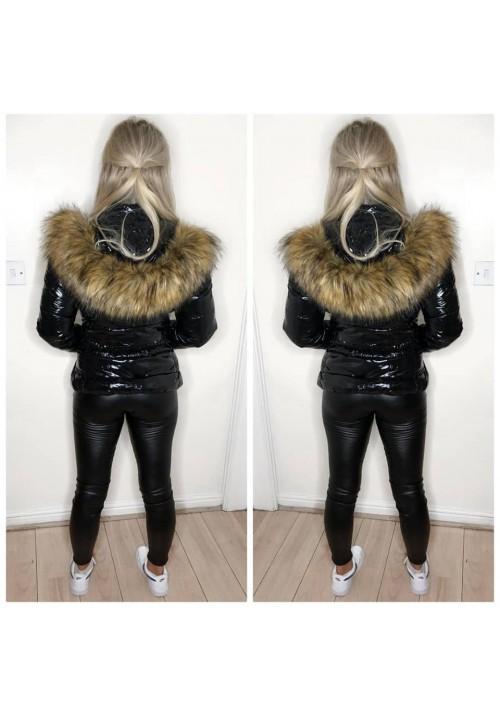 ALEXIS WET LOOK COAT - BLACK