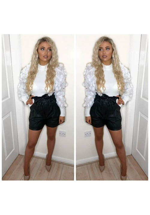 MOLLY LEATHER LOOK SHORTS - BLACK