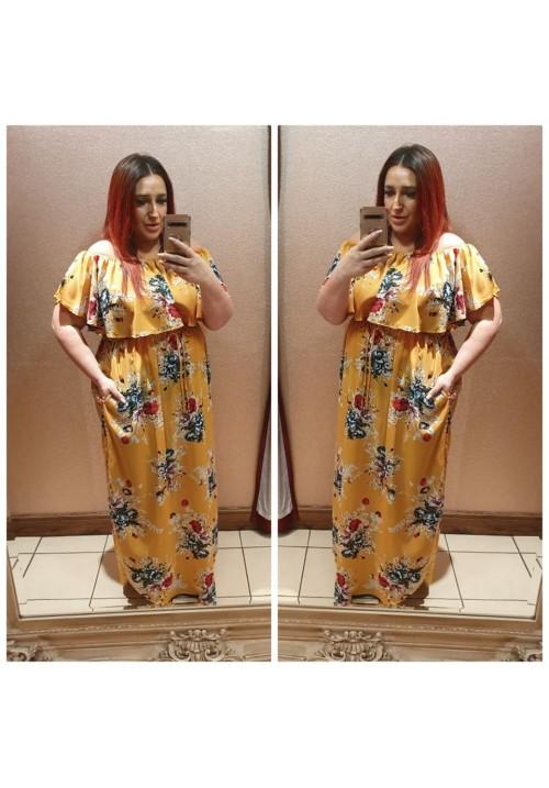 CURVY GIRLS SIMONE  FLORAL BARDOT MAXI DRESS - MUSTARD