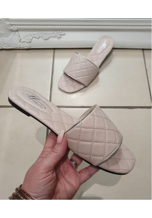 ANAIS QUILTED SLIDERS - NUDE PINK