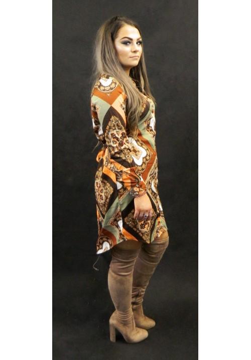 TAN SCARF PRINT SHIRT DRESS