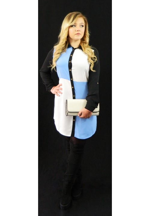 BLUE AND WHITE SQUARE SHIRT DRESS