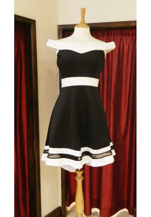 BARDOT MONOCHROME DIPPED HEM SKATER DRESS
