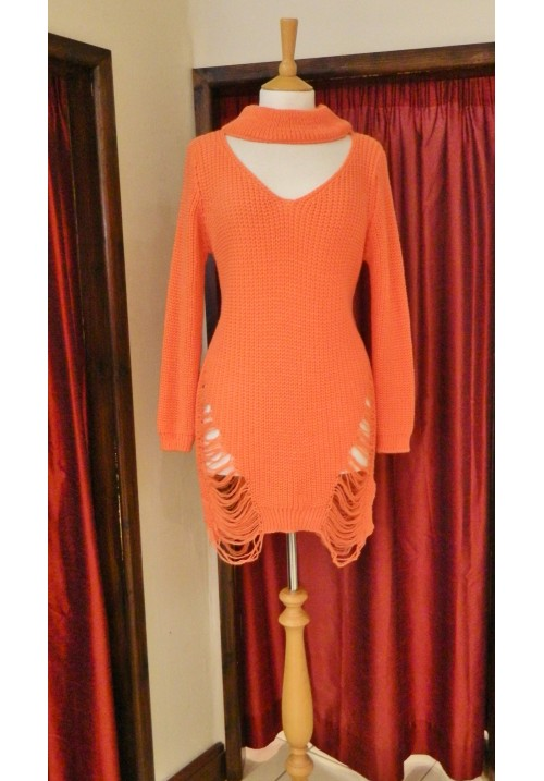 CLARA CHOKER SWEATER WITH LADDERED DETAIL CORAL