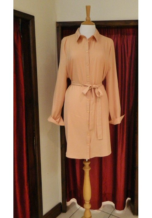 CURVY GIRLS NUDE SHIRT DRESS