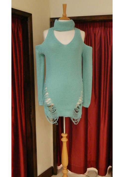 CLARA OPEN SHOULDER CHOKER SWEATER WITH LADDERED DETAIL MINT