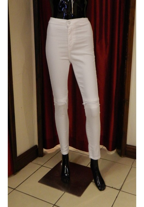 ZIP KNEE WHITE SKINNY JEANS