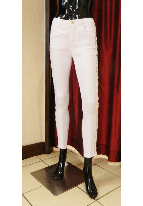 WHITE LACE SIDE SKINNY JEANS