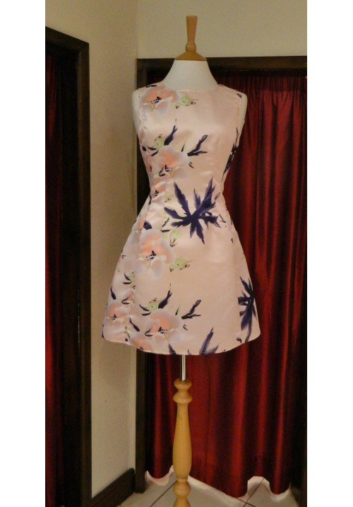 AVRIL NUDE FLORAL TULIP SHAPE SKATER DRESS
