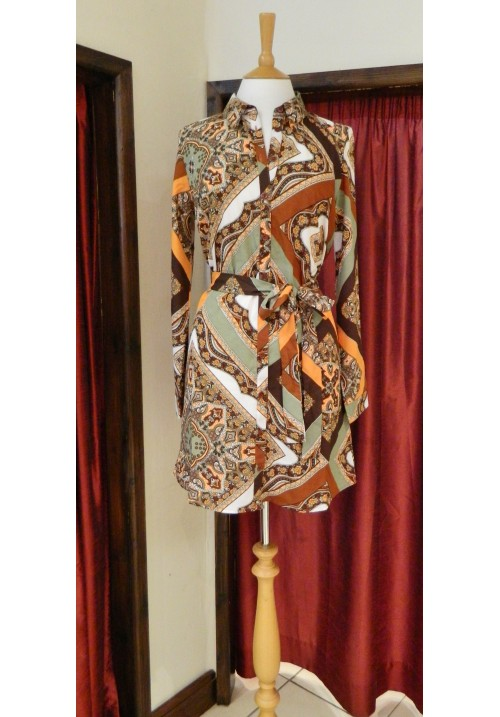 TAN SCARF PRINT SHIRT DRESS