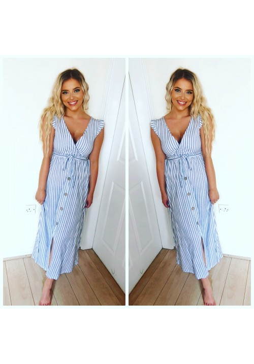 ALWAYS PRETTY FRILL SHOULDER MIDI DRESS - LIGHT GREY