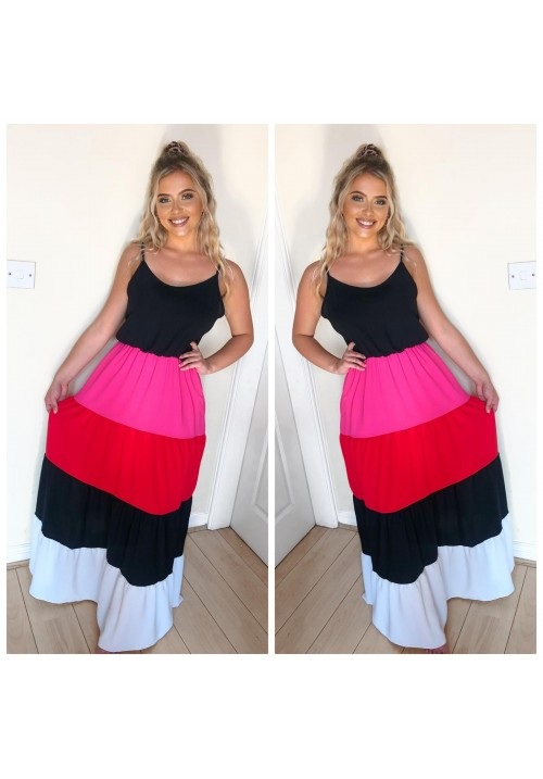 I'M WITH THE BAND - MAXI DRESS - RED/PINK