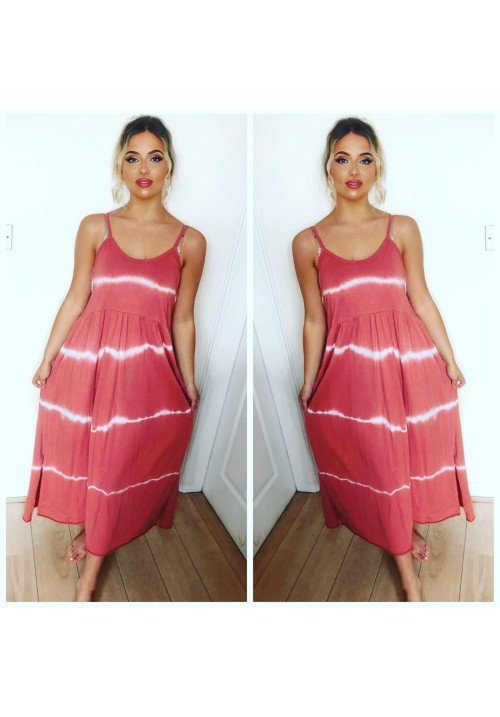 JENNY TIE DYE JERSEY DRESS - SALMON PINK