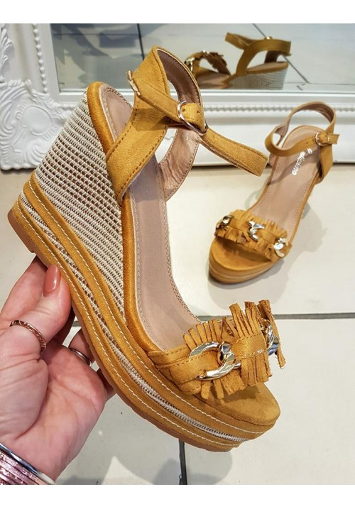 MUSTARD FRILL WEDGE SHOE