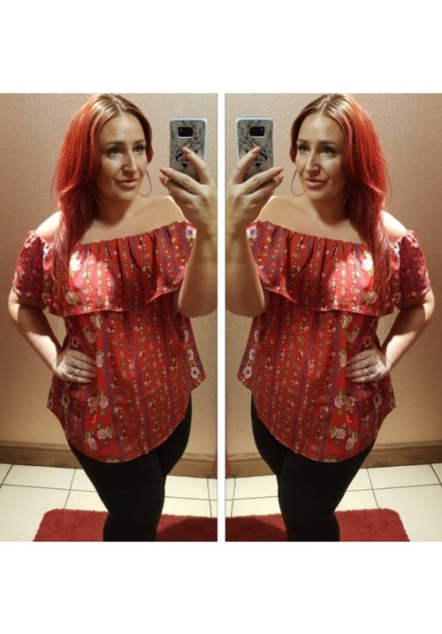 CURVY GIRLS ANNA BARDOT TOP - RED FLORAL