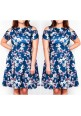 CURVY GIRLS COLD SHOULDER NAVY FLORAL SKATER DRESS